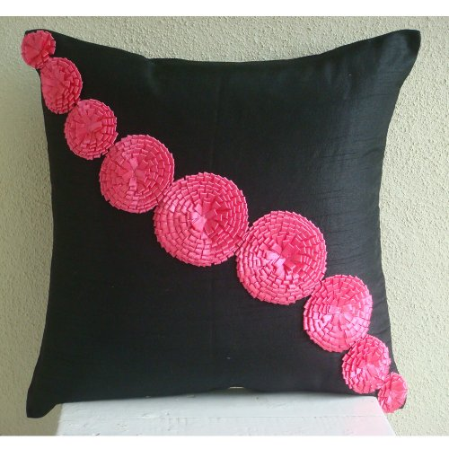 Fuchsia Flowers - 12X12 Inches Square Decorative Throw Black Silk Pillow Covers With Satin Ribbon Flowers front-830070