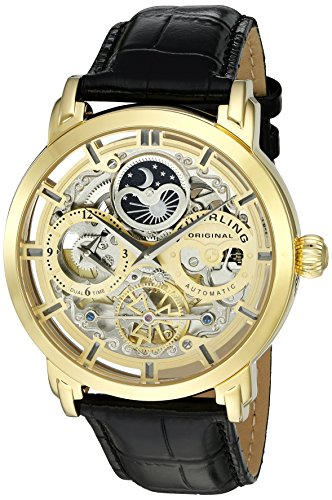 Stuhrling Original Men's 'Legacy' Automatic Stainless Steel and Leather Dress Watch, Color:Black