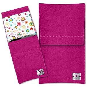 SIMON PIKE Hülle Handytasche Sidney 8 pink für Apple iPhone 5S 5C 5 aus Filz