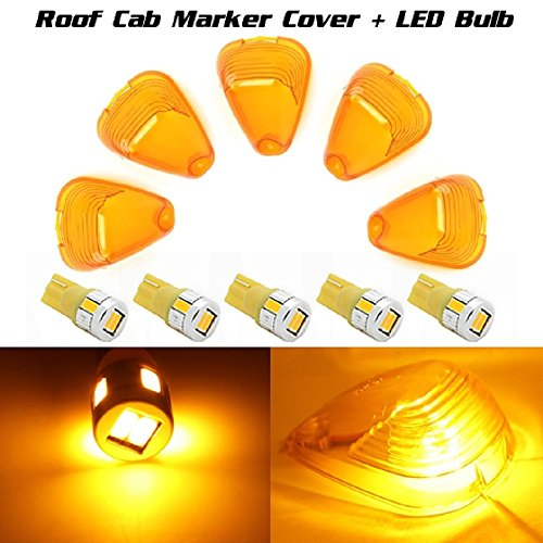 Partsam 5 Pcs Of T10 194 Amber High Power Led Bulb + Smoke Cab Marker Clearance Light Lens Cover For 2014 Ford F-250 F-350 F-240 F-550