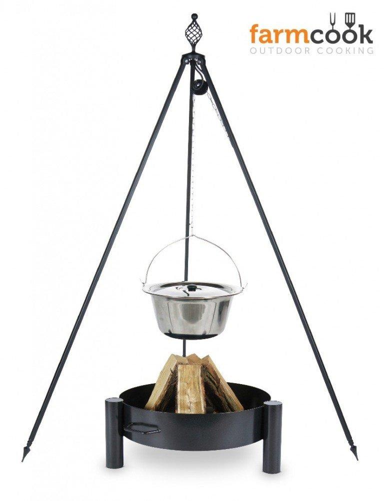 Dreibein Grill OSKAR Höhe 210cm + Topf 8 Liter aus Edelstahl + Feuerschale Pan33 online bestellen