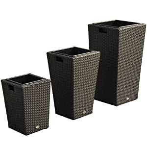 lot de 3 pots de fleurs rotin r sine tress cache pot vase salon jardin noir neuf 18. Black Bedroom Furniture Sets. Home Design Ideas