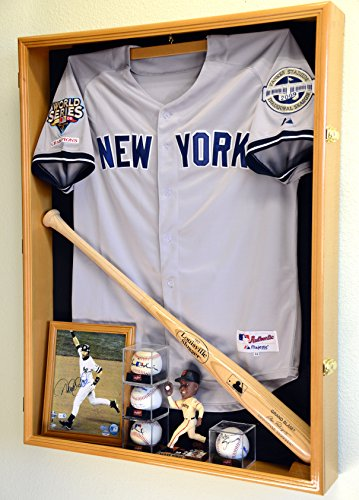 Extra Deep Jacket, Uniform, Jersey Shadow Box Display Case Cabinet w/ UV Protection, Oak (Oak Jersey Display Case compare prices)