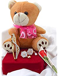 SPECIAL VALENTINE COMBO OF CZ EARRING, CZ BRACELET, TEDDY BEAR WITH KEY CHAIN AND A PLASTIC ROSE FOR HER