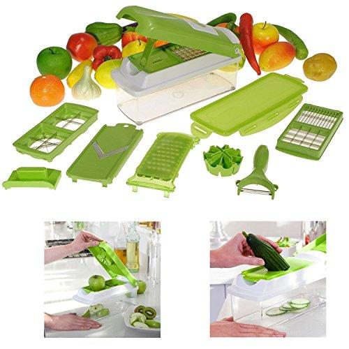 Kabi Super Dicer Plus Découpe Fruits Légumes Aliments 12 Multi-Râpe épluche-légumes Nicer Slicer Hachoir conservation 1500 ml (Vert)