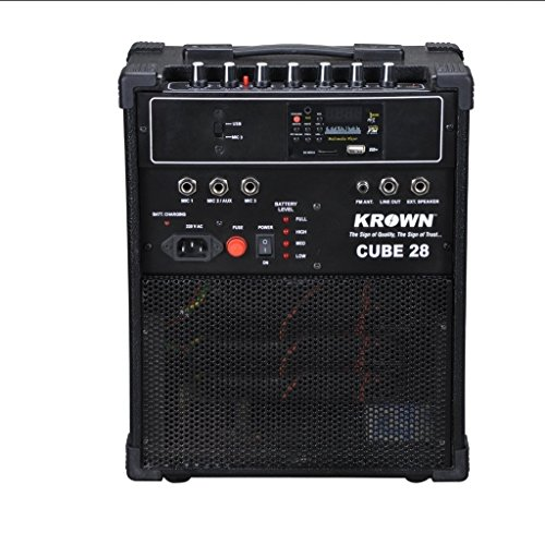 Krown Portable Rechargeable PA Amplifier Cube-28 with Speaker & Degital Media Player & FM