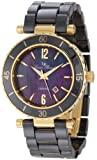 Women's La Tournette Black MOP Dial Gold Tone IP Case Black Ceramic