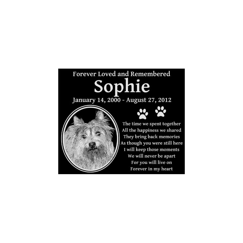 "Personalized Cairn Terrier Dog Pet Memorial 12""x10"" Engraved Black Granite Grave Marker Head Stone Plaque SOP1  Pet Memorial Products"