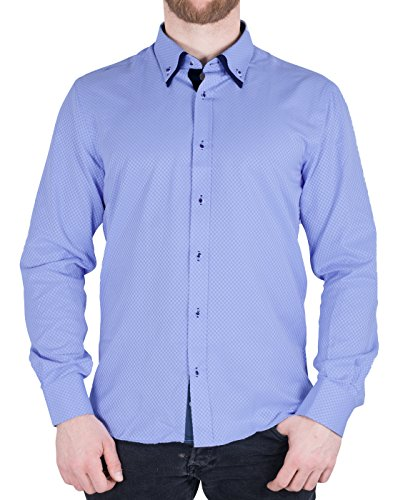 Camicia Slim Fit Bucky BetterStylz la camicia a maniche lunghe per il tempo libero Buiseness 2 COLORI (M-XXL) Light Blue/DBlue Medium