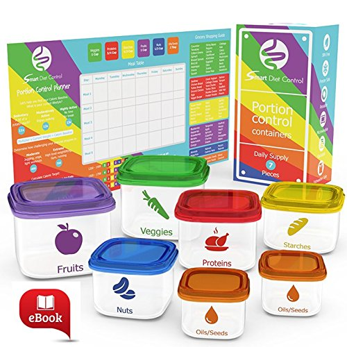 SDC - 7 Piece Portion Control Containers Kit Comparable to 21 Day Fix with Complete Guide and EBOOK Leak Proof Microwave and Dishwasher Safe (Food Containers For 21 Day Fix compare prices)