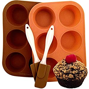 Silicone Muffin Pan-Cupcake Pan. Two 6-Cup Standard Size Trays Plus Two Silicone Spatulas. Four Piece Set