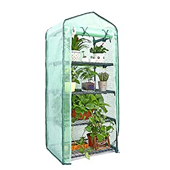 Mini Greenhouse, Ohuhu Small Plant Greenhouses, 4 Tier Rack Stands Portable Garden Green House for Outdoor & Indoor, 27
