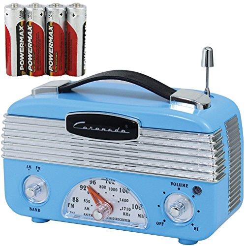 Coronado Vintage Style Retro Blue AM/FM Portable Radio With 4 AA Batteries (Vintage Radio Transistor compare prices)