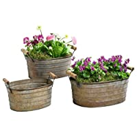 Metal Planter Tubs - Set of Three Planters with Wooden Handles Product SKU: PL221877