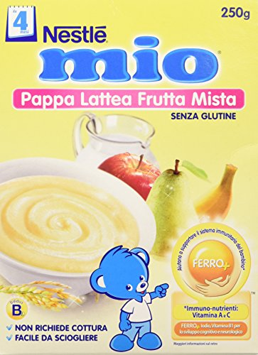 Nestlé Mio Pappa Lattea Frutta Mista senza Glutine da 4 Mesi, 250g