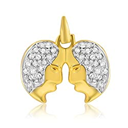 Mahi White Gold Plated CZ Stones Gemini Unisex Pendant PS1101433G