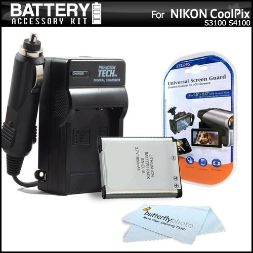 Battery And Charger Kit For Nikon Coolpix S3100 S4100 S100 S4300 S3300 Digital Camera Includes Replacement Extended (1000Mah) EN-EL19 Battery + 110/220 AC/DC Charger + LCD Screen Protectors + MicroFiber Cleaning Cloth