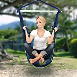 Sorbus Blue Hanging Rope Hammock Chair Swing Seat