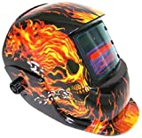 Welding Helmet - Flames / Skull - Auto-Darkening - Solar/C.P.S