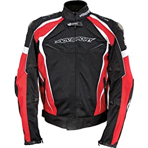 AGV Sport Laguna Men's Textile Street Bike Motorcycle Jacket - Black/Red / Small