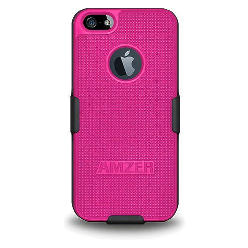Amzer Amz94831 Shellster Shell Holster Combo Case Cover For Apple Iphone 5, Iphone 5S (Fits All Carriers) - Black/ Hot Pink