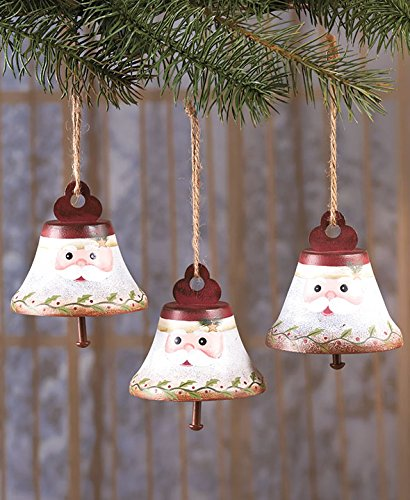Sets of 3 Santa Claus Whimsical Decorative Metal Bell Christmas Tree Ornaments Decoration