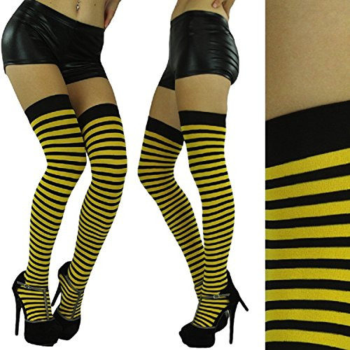 Bright Soft Striped Athletic Thigh High Socks Over the Knee Warm Tight
