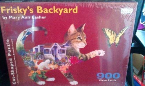 Frisky's Backyard - 900 Piece Cat-Shaped Puzzle - 1