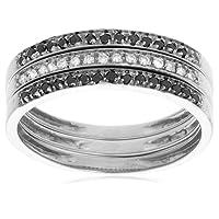 10k White Gold Black and White Diamond Stacker Ring, Size 8