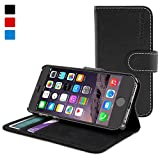 Snugg iPhone 6 Leather Flip Case in Black – Flip Wallet case with Card Slots, Stand and Premium Nubuck Fibre Interior for the Apple iPhone 6