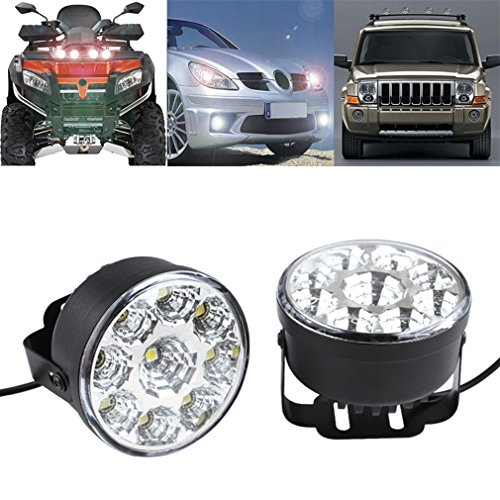 S&D 2 x Universal Super Bright Round Vehicle LED Bulbs Flood Beam Light Fog Daytime Running Driving Light DRL For Chevy Ford Charger Dodge GMC Denali (Round Led Camper Light compare prices)