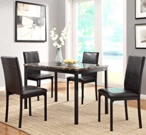 faux marble top dining room set w black metal base home kitchen