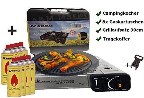 Gaskocher-Campingkocher-mit-8-Gaskartuschen-Portable-Grillaufsatz-Grillplatte-Koffer-Grau