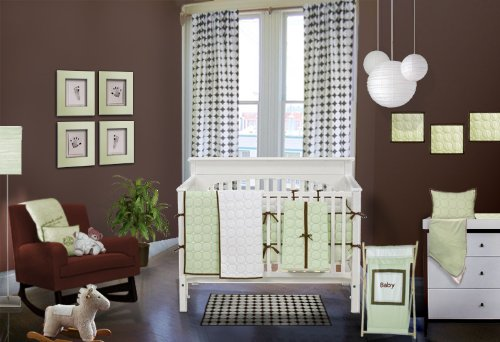 Quilted Circles Lime/chocolate 4 pc Crib Set