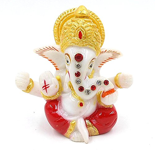 Celebration Gift Ganesh Statue for Car Dash Board Size 3 Inch Code 90 (Color Assorted)