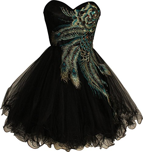 Ansen Peacock Embroidered Holiday Party Prom Dress Tu-004 (2X, Black)