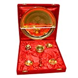 Traditional Gold Plated Brass Pooja Thali Set Of 7 Pcs With Box Packing - B00SF0CUJ6