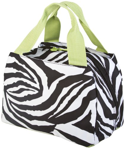 Ever Moda Green Zebra Insulated Lunch Bag 10-inch