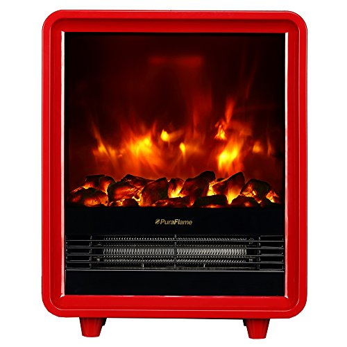 Puraflame Octavia Red 11 Inch Mini Portable Fireplace Heater, Eco Saving, High Efficiency Heating Elements, 9 Selected Temperature Settings, 750W/1500W