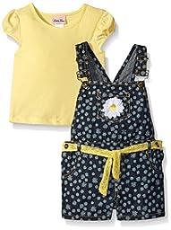 Little Lass  Girls 2 PC Shortall Set Daisy, Yellow, 24 Months