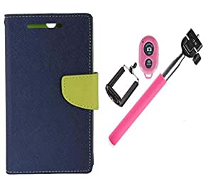 Novo Style Wallet Case Cover For Motorola Moto X Play Blue + Selfie Stick with Adjustable Phone Holder and Bluetooth Wireless Remote Shutter