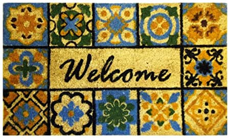 Iron Gate U2013 Welcome With Mosaic Tile U2013 Printed Coco Doormat U2013 Heavy Duty  Outdoor Premium Coir Mat 18×30 U2013 1/2 Inches Thick U2013 Extremely Durable U2013  Traps Dust ...
