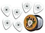 Instrumentos musicales: Spider Web 6 X Guitarra Picks in Tin (GD)