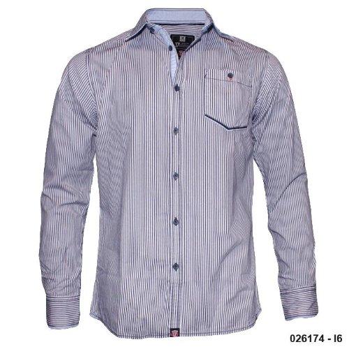 Mens D555 Blue Stripe Casual Fashion Shirt K6 Size Medium