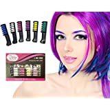 Hair Chalk- 6 COUNT - Vibrant, Long Lasting Temporary Shimmer Hair Color Cream by Pinky Petals (Shimmer)