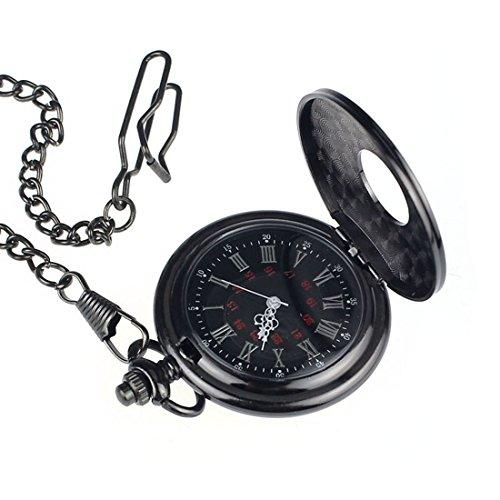 Bessky(TM) Pocket Watch,Fashion Retro black Roman numerals Quartz Chain Pendent Pocket Watch Clock Gift