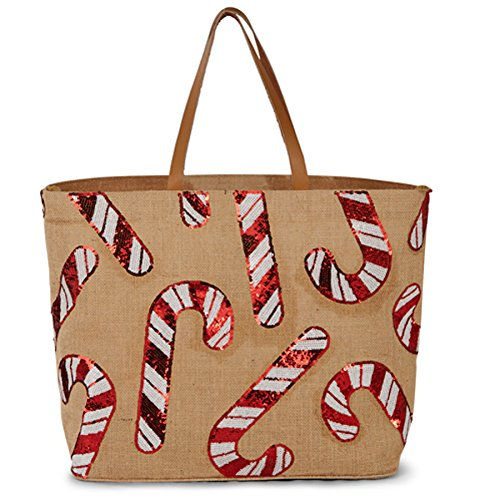 Mud Pie Women's Fashion Holiday Christmas Dazzle Jute Tote (Candy Cane) (Mud Pie Leather Tote compare prices)