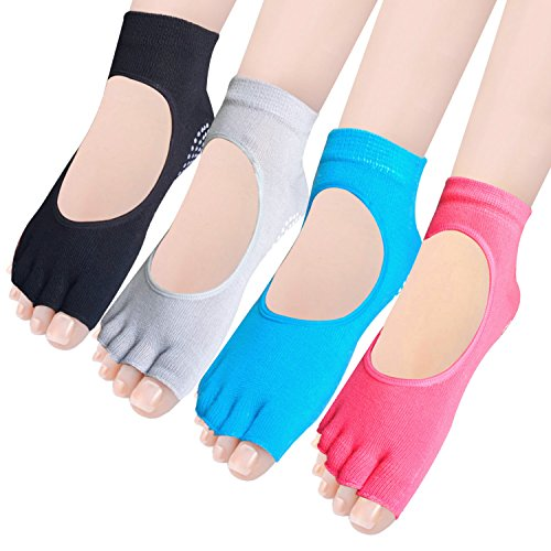 Amandir 4 Pairs Non Slip Skid Yoga Pilates Grippy Toeless Socks with Grips