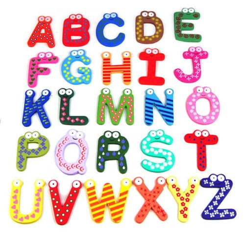 26pcs Letters 10 Number Kids Wooden Alphabet Fridge Magnet Child Educational Toy (Old Baby Carriage compare prices)