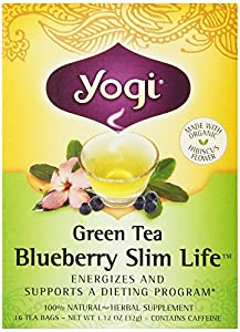 Yogi Blueberry Slim Life Green Tea, 16 Tea Bags (Pack of 6)